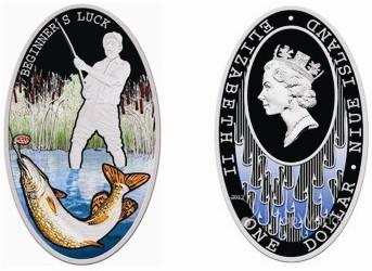рыболов на монете